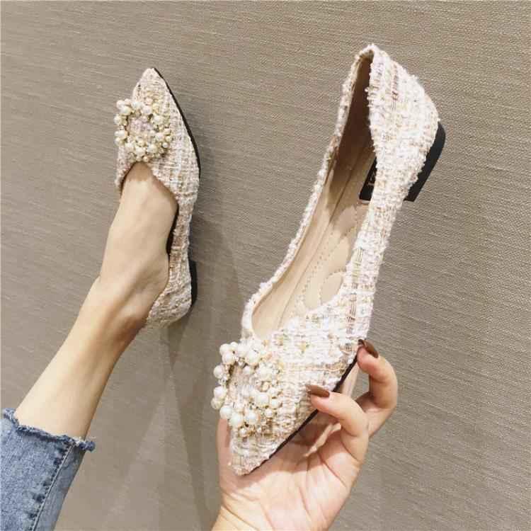 春季新款百搭尖頭晚晚鞋仙女溫柔平底淺口小香風單鞋女豆豆鞋