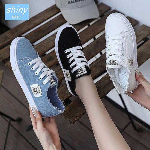 【V9209-1】shiny藍格子-瑕疵特賣.個性百搭帆布鞋板鞋