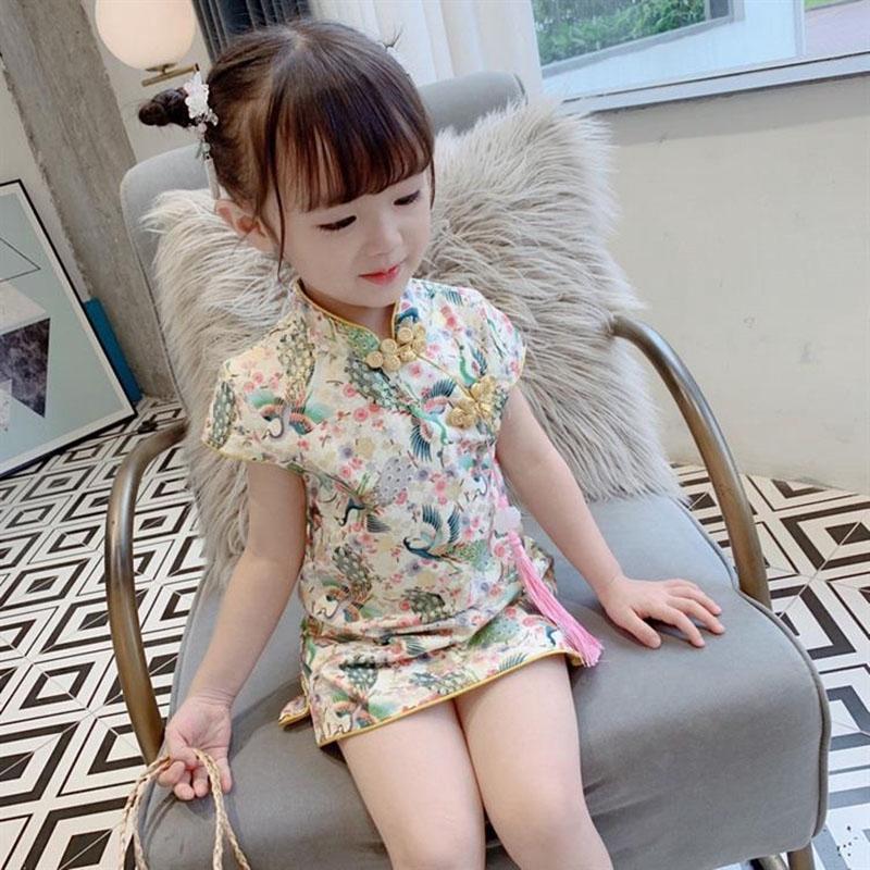 夏季新款中小女童裙子 中國風寶寶洋氣復古格子旗袍 女孩甜美氣質公主裙 連衣裙子 送掛飾【IU貝嬰屋】