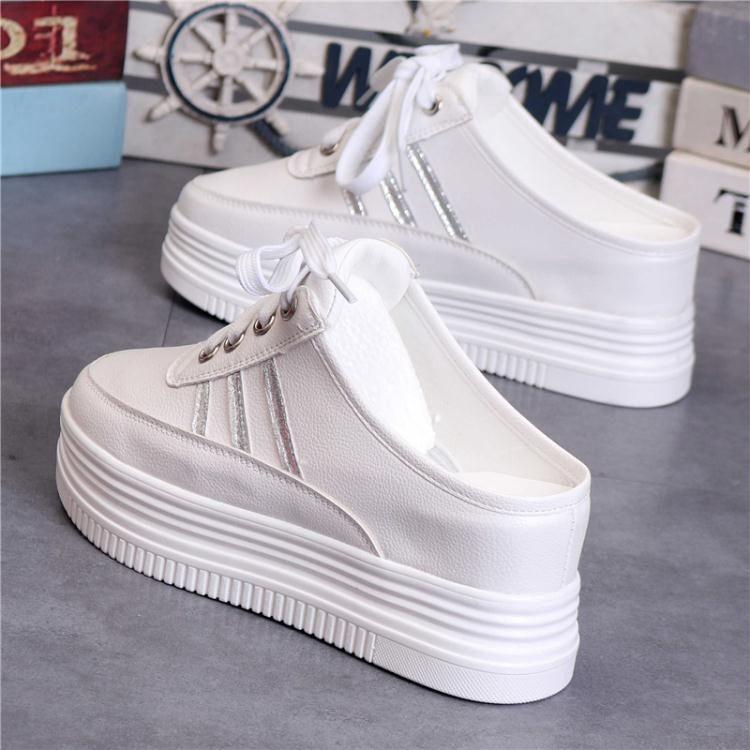 春夏小白鞋女板鞋厚底內增高8cm無後跟懶人鞋一腳蹬半拖女鞋