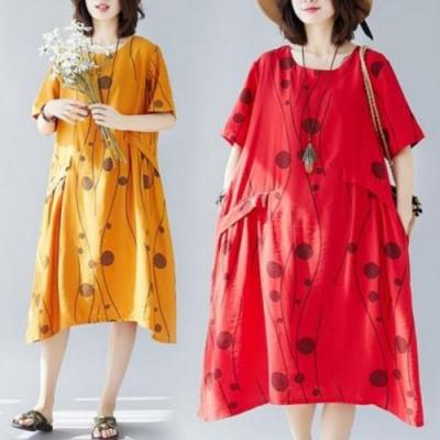 La Belleza圓領枝葉圓圈圈圖案印花假口袋棉麻寬鬆洋裝