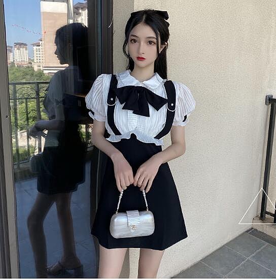 超殺29折 韓國風復古燈籠短袖木耳邊chic短袖洋裝