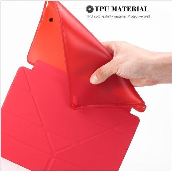 【3C迦南園】NEWPAD9.7/多折保護套 紅/灰/蒂芬妮藍