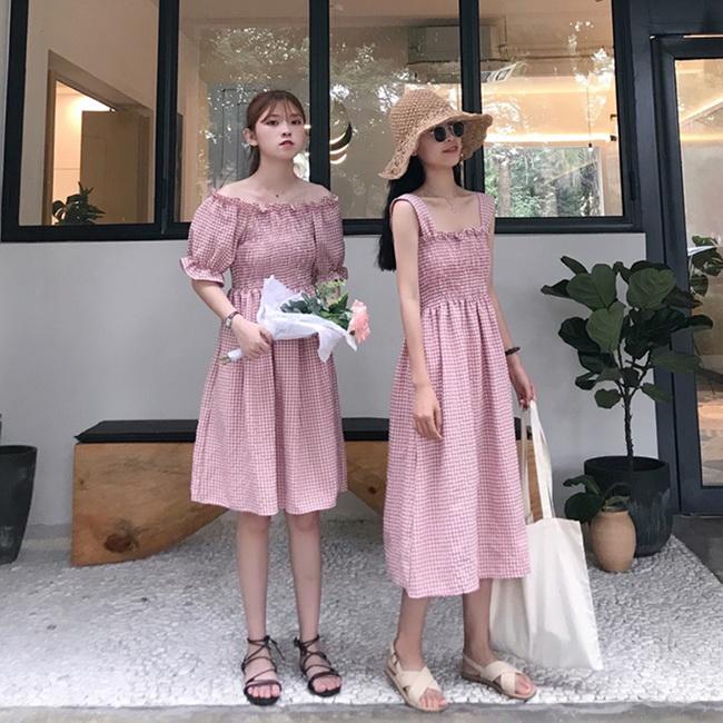 FOFU-連身裙韓版小清新吊帶一字肩格子閨蜜裝連身裙【08G-M1412】