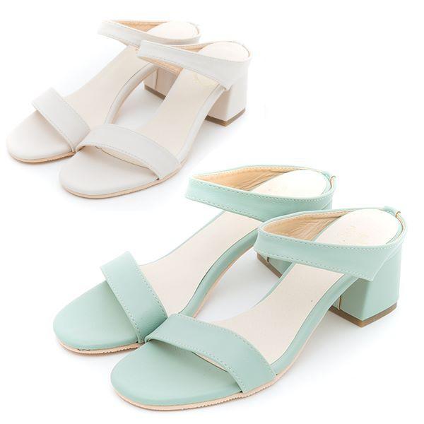 【白鳥麗子】粗跟鞋 MIT甜美簡約雙條一字高跟涼鞋