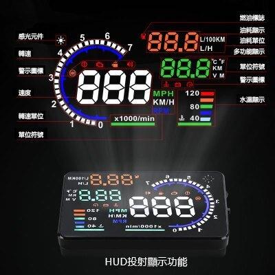 唯穎HUD抬頭顯示器【可開發票】OBD車載顯示器 投影顯示 彩色高清LED 5.5英吋 多功能 速度/轉速/水溫/油耗  七色堇 新年春節送禮