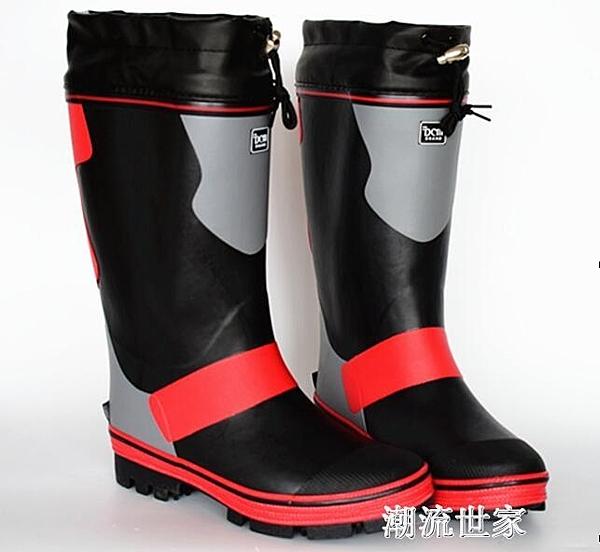 新高筒夏天鋼釘底防滑款戶外釣魚 爬山男款雨鞋雨靴戶外礁鞋磯鞋『潮流世家』