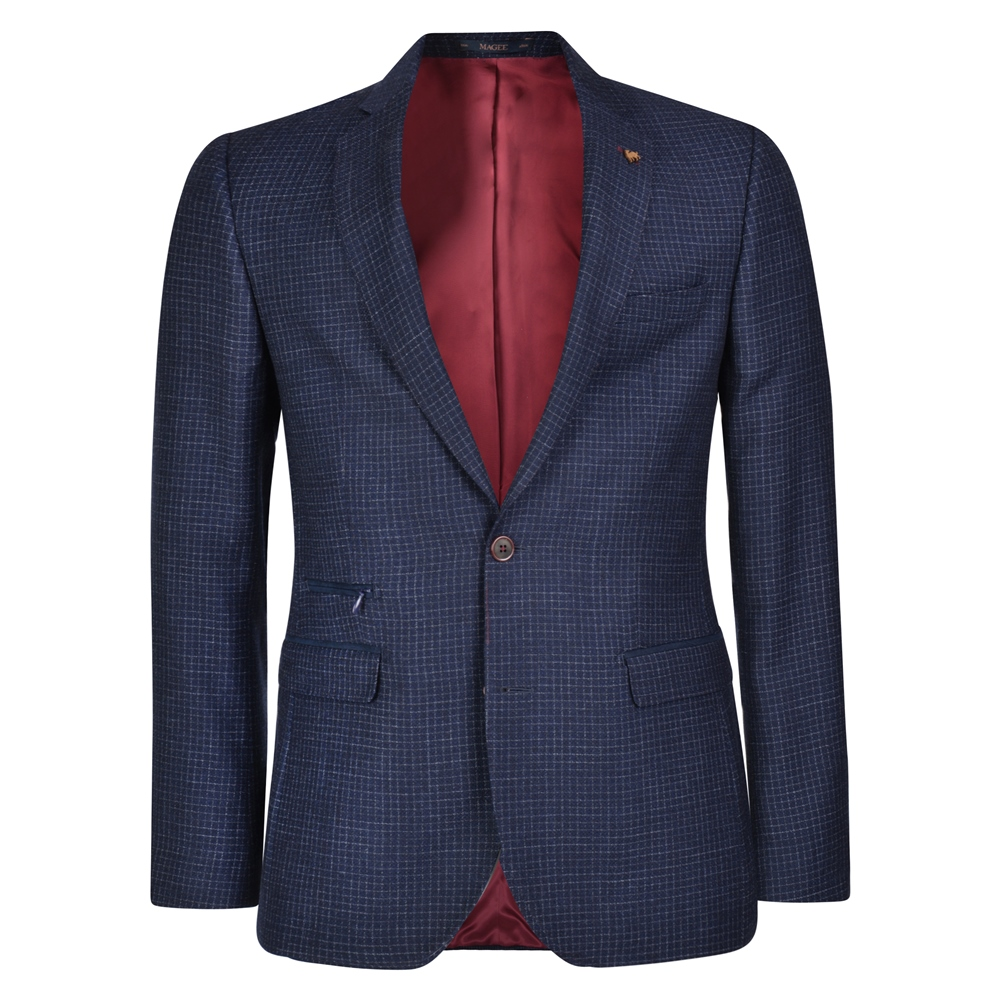 Magee 1866 Blue & Grey Checked Tailored Fit Jacket