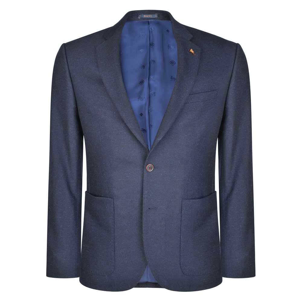 Magee 1866 Navy & Blue Patch Pocket Tailored Fit Jacket