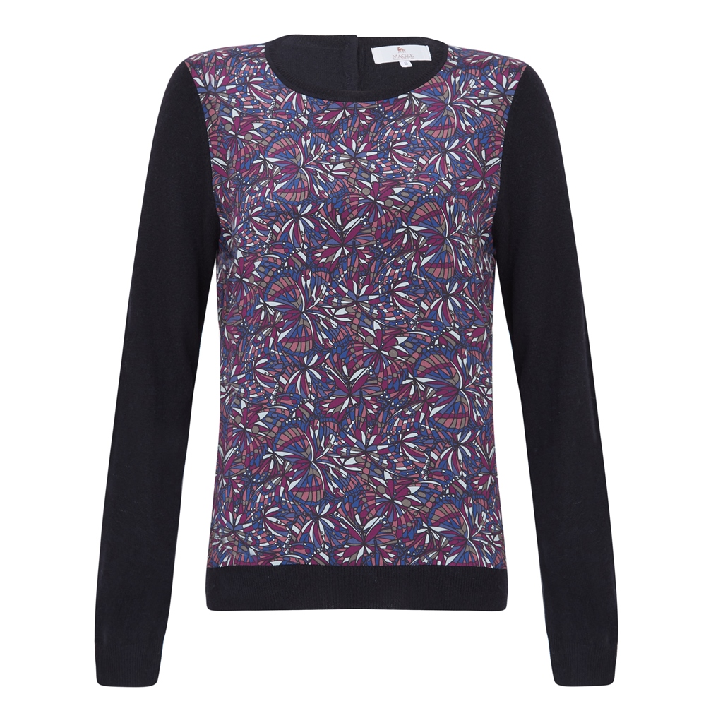 Magee 1866 Black Chloe Liberty Print Panel & Cashmere Blend Jumper