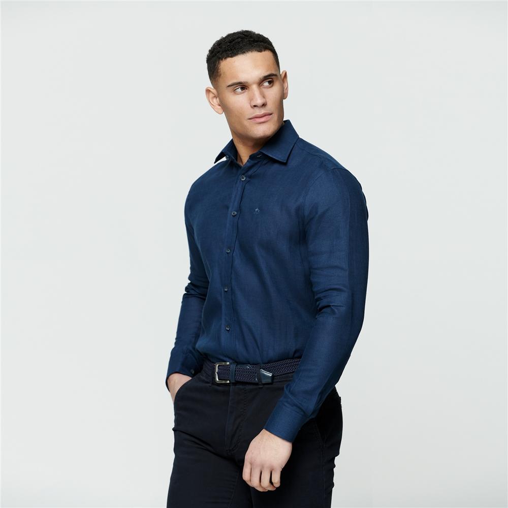 Magee 1866 Irish Made - Indigo Linen Dunross Tailored Fit Shirt