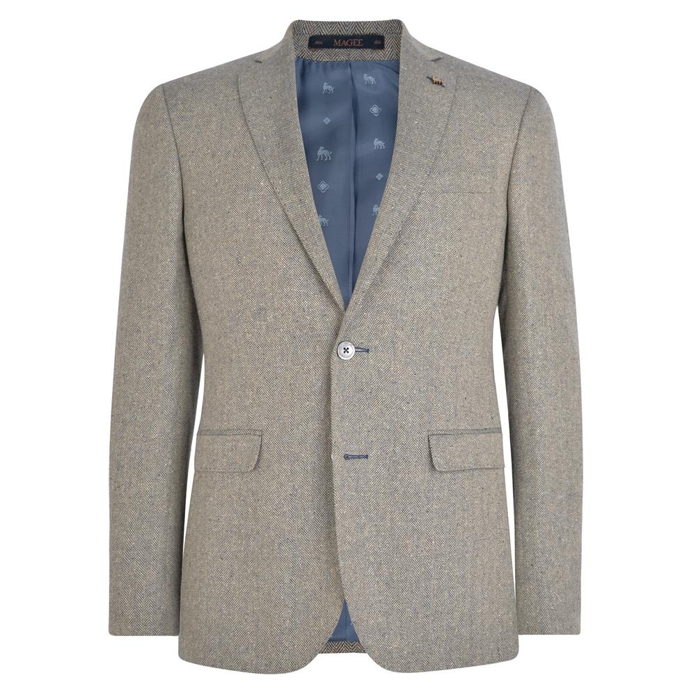 Magee 1866 Oat & Blue Herringbone Donegal Tweed Tailored Fit Jacket