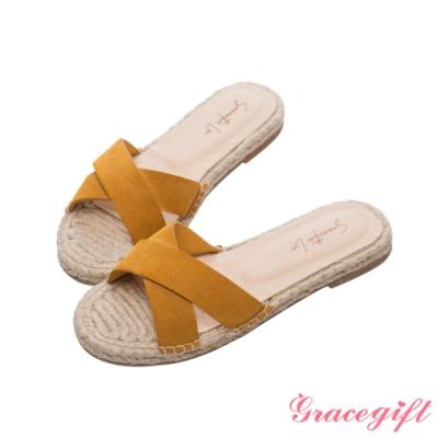Grace gift X Samantha-聯名交叉寬帶平底涼拖鞋 黃