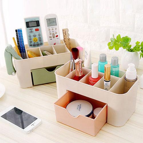 抽屜式化妝品收納盒 化妝品整理盒 桌面文具首飾保養品分格收納盒 收納箱
