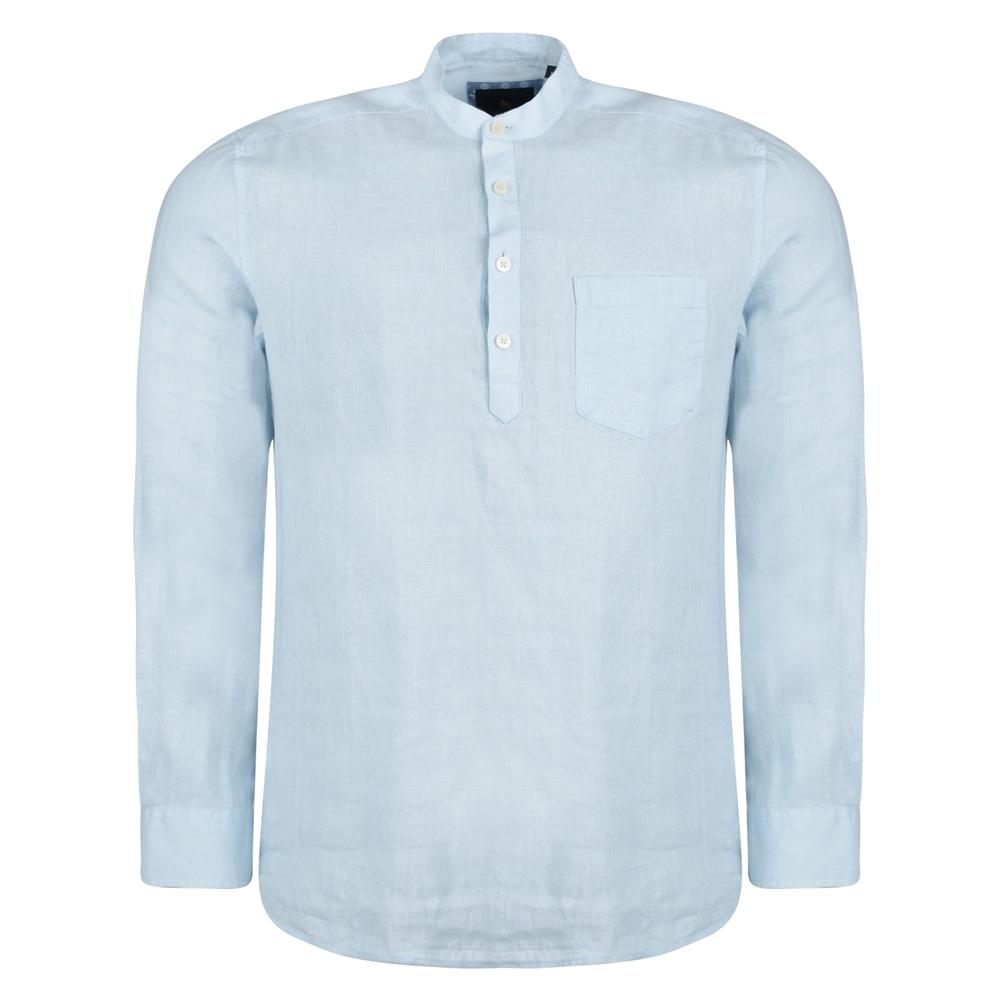 Magee 1866 Irish Made - Baby Blue Linen Corlea Grandfather Classic Fit Shirt