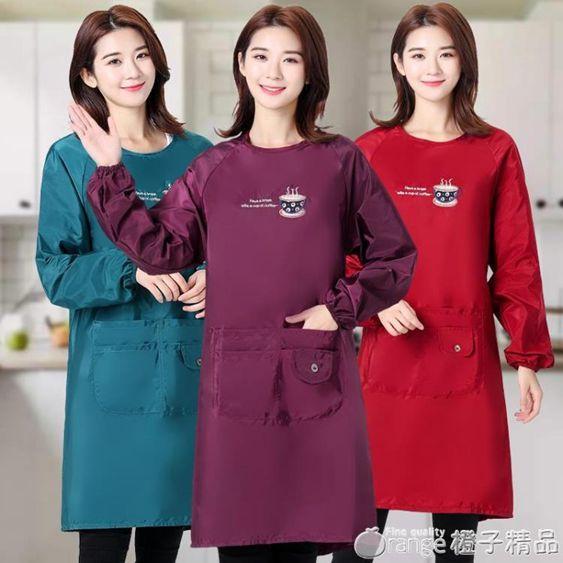 圍裙帶袖子家用廚房大人罩衣女長袖外套冬季防水防油工作服男時尚