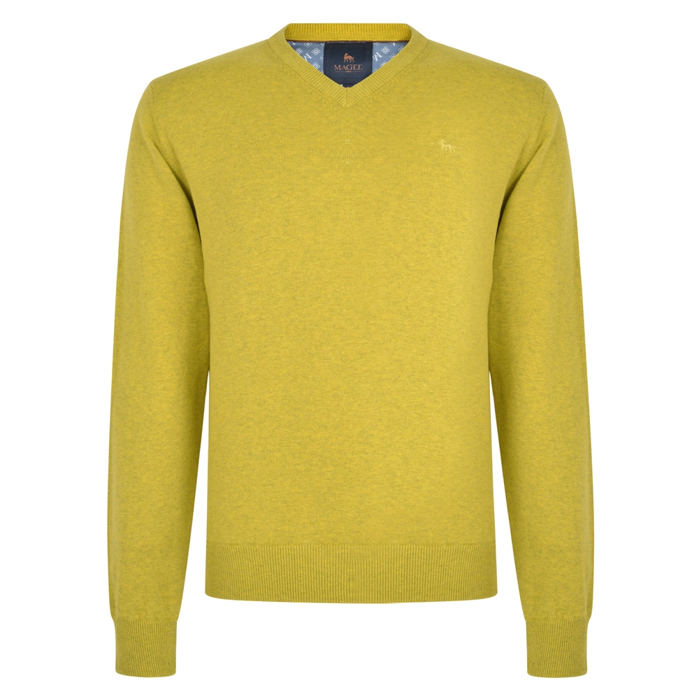 Magee 1866 Chartreuse Carn Cotton V Neck Jumper