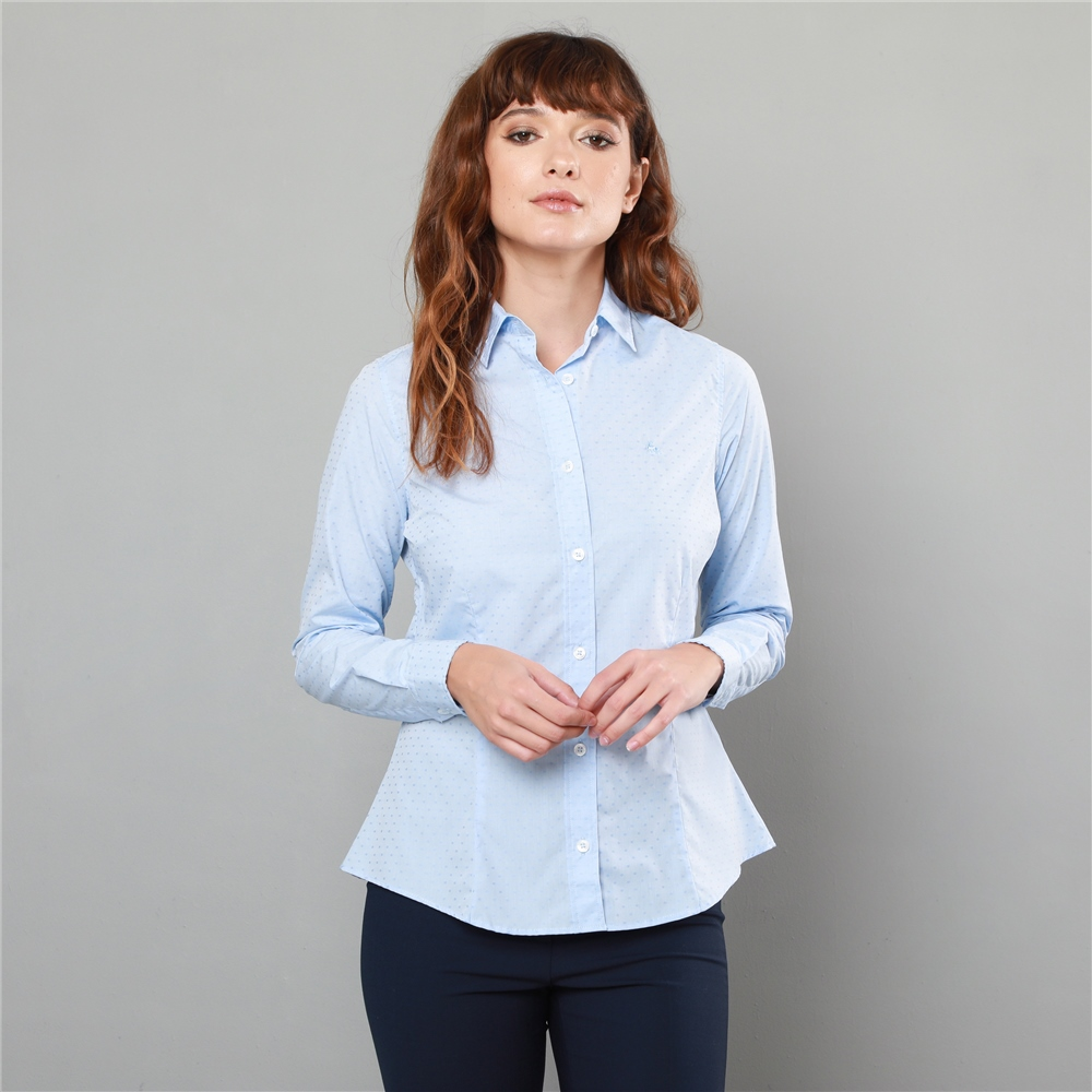 Magee 1866 Sky Blue Hannah Jacquard Classic Fit Shirt