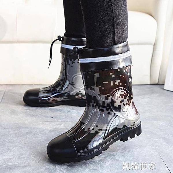 秋冬男士雨鞋馬丁迷彩短筒雨靴中筒加絨棉戶外釣魚防滑防水鞋膠鞋『潮流世家』