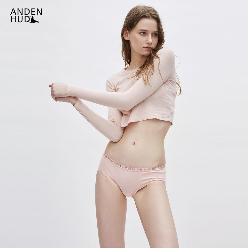 【Anden Hud】Hello Kitty系列.中腰三角內褲(橘粉) 台灣製