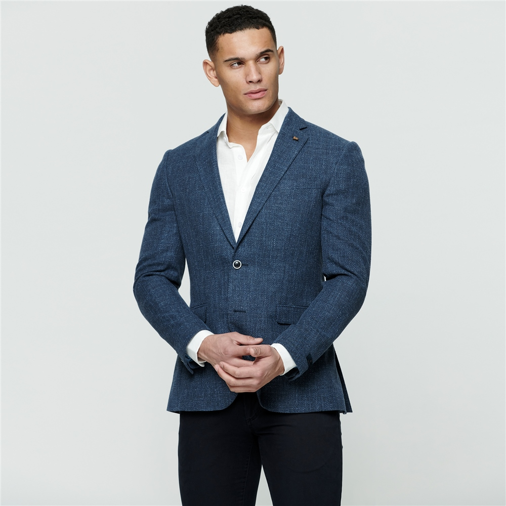 Magee 1866 Blue Basket Weave Tailored Fit Jacket