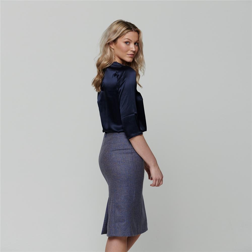 Magee 1866 Blue Dana Herringbone Donegal Tweed Pencil Skirt