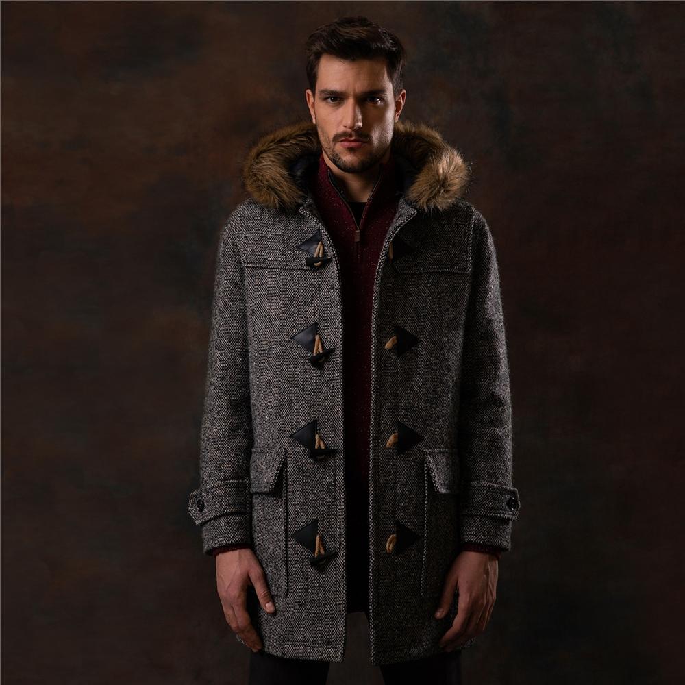 Magee 1866 Oat Moross Salt & Pepper Donegal Tweed Duffle Coat