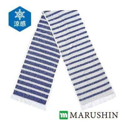 日本丸真 Eco de COOL 涼感運動毛巾 海軍藍條紋