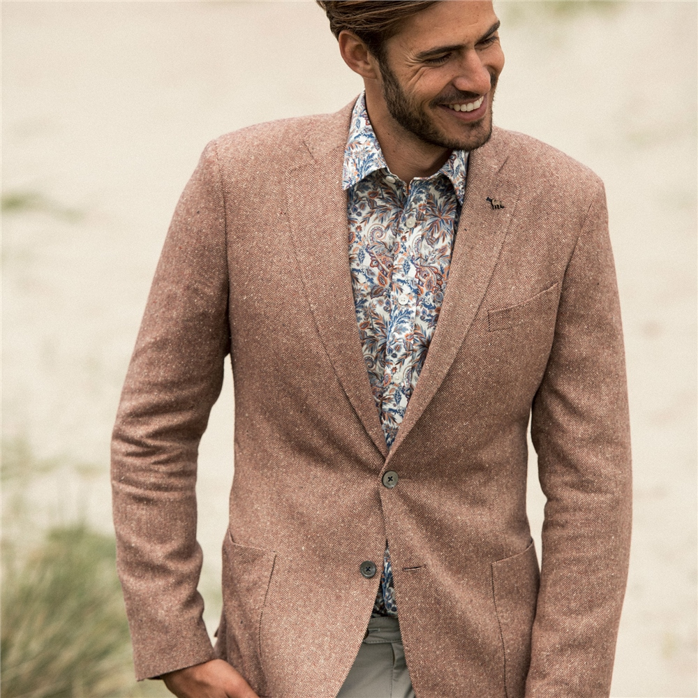 Magee 1866 Rust & Oat Easky Herringbone Tailored Fit Jacket