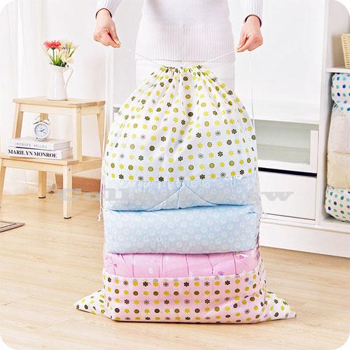 無紡布視窗型束口棉被收納袋 (大號) 衣物防塵袋 整理袋 行李袋 搬家打包袋 收納箱