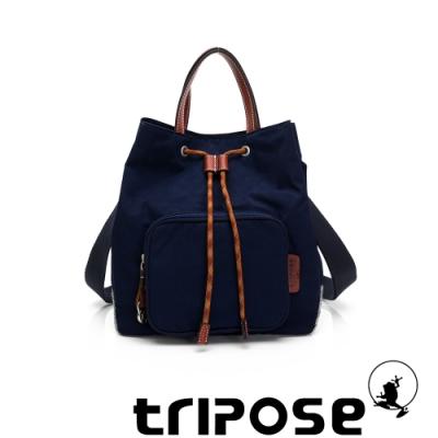 tripose 漫遊系列岩紋手提斜背水桶包 深海藍