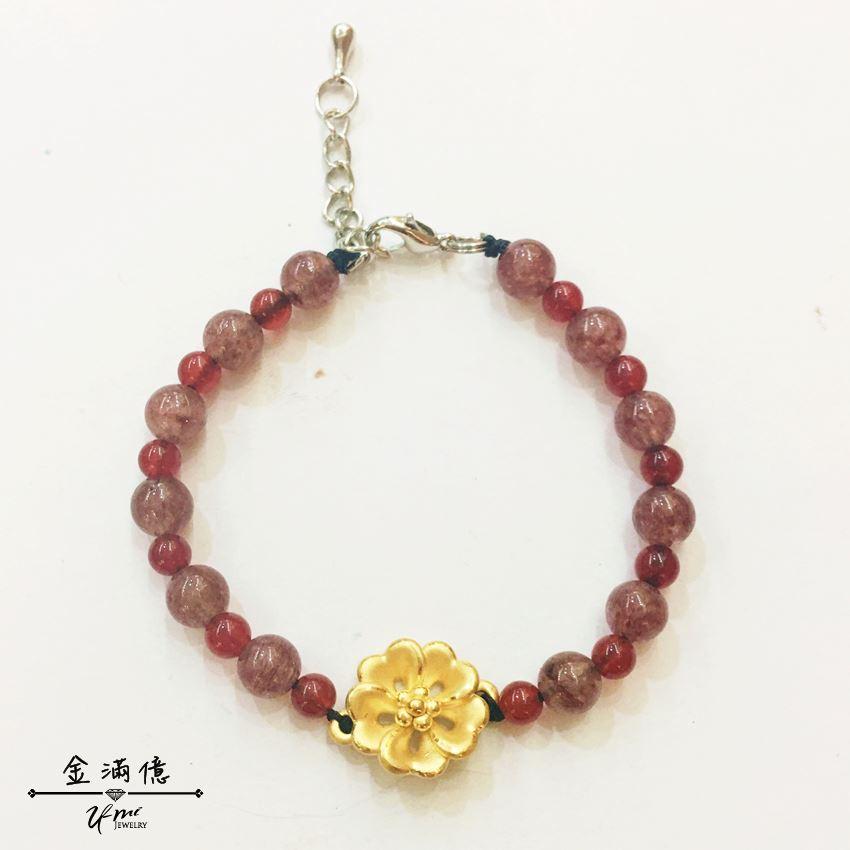 黃金手鍊【大黃花】客製化商品 花朵造型 串珠手繩 9999 純金手鍊