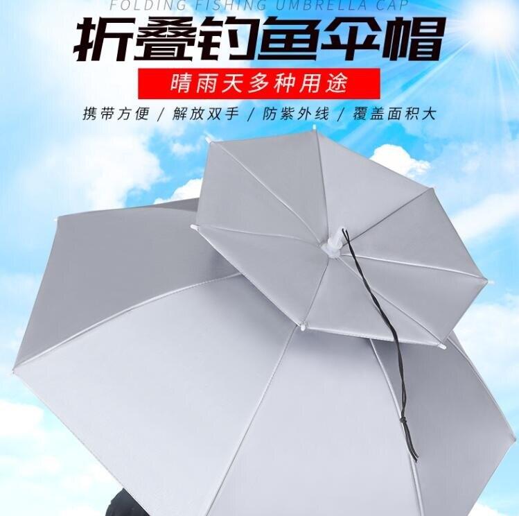 遮陽傘雨傘帽頭戴傘釣魚傘帽頭頂式遮陽防曬防雨帽子頭帶摺疊大號傘垂釣-創時代3C 交換禮物 送禮