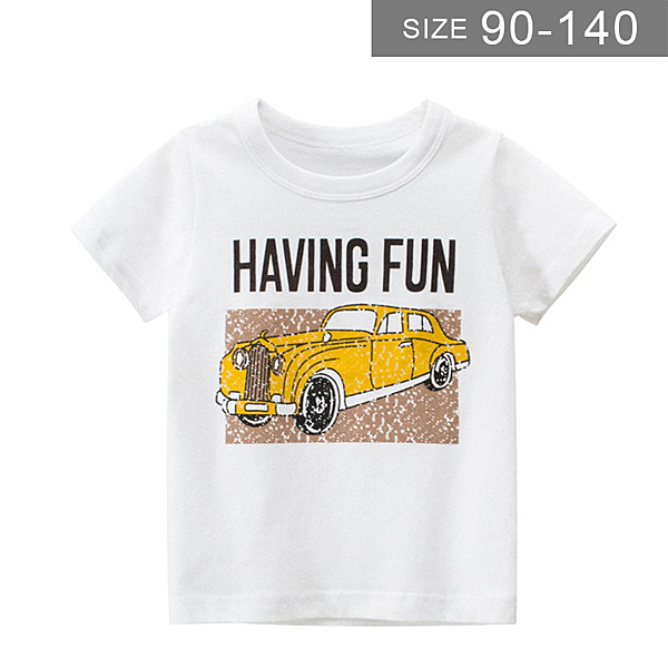 男童短袖T恤。ROUROU童裝。夏男童中小童100%棉汽車印花圓領短袖T恤 0121-535