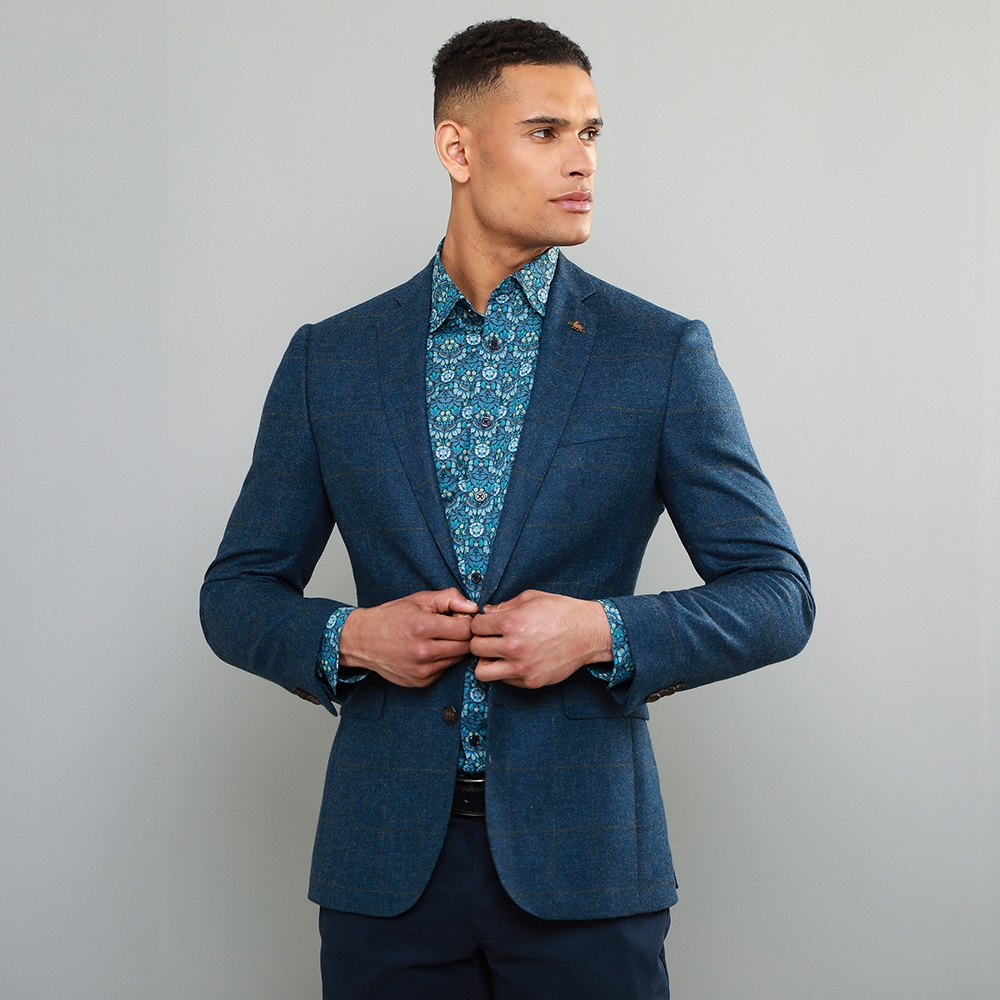 Magee 1866 Blue Checked Donegal Tweed Classic Fit Jacket