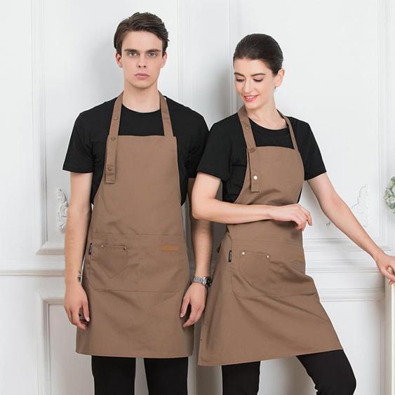 廚房圍裙 帆布牛仔正韓時尚工作服圍裙女定制logo印字奶茶咖啡花店烘焙美甲