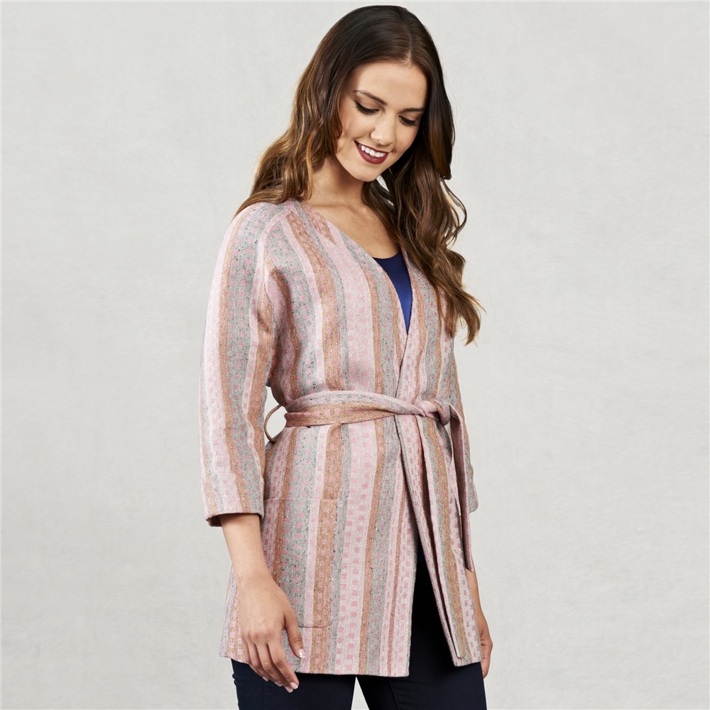 Magee 1866 Pink Jacquard Donegal Linen Kimono Style Coat