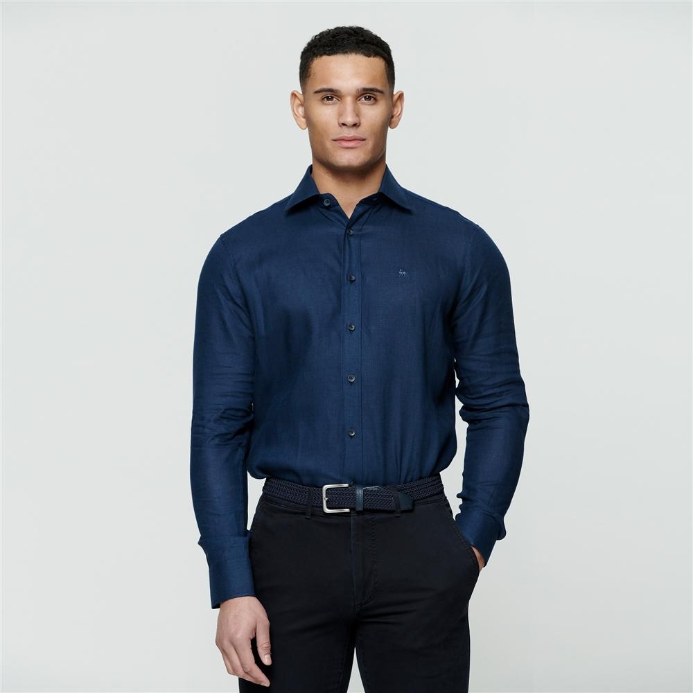 Magee 1866 Irish Made - Indigo Linen Kilbeg Classic Fit Shirt