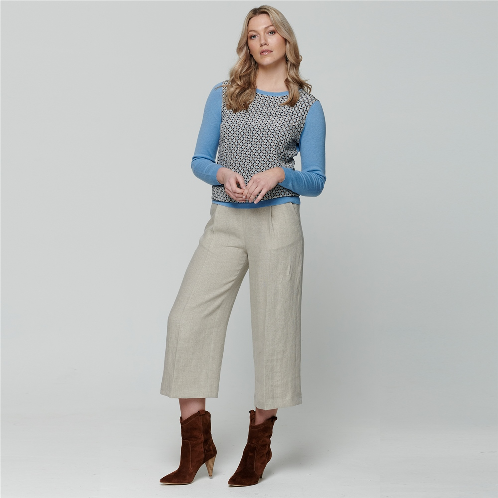 Magee 1866 Beige Willow Cropped Irish Linen Trousers
