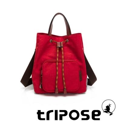 tripose 漫遊系列岩紋手提斜背水桶包 番茄紅