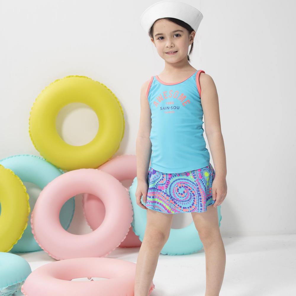 【SARBIS】女童兩截式泳裝附泳帽B802001