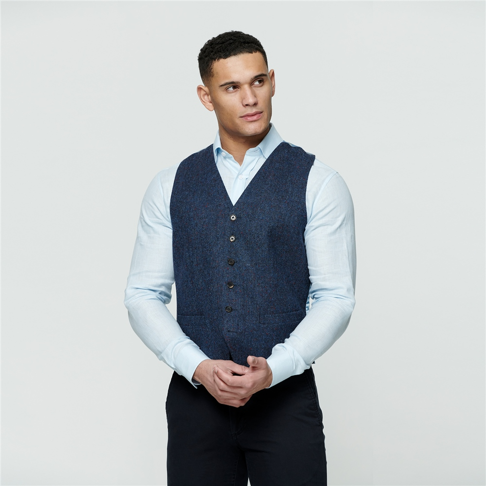 Magee 1866 Navy Salt & Pepper Donegal Tweed Glyde Waistcoat