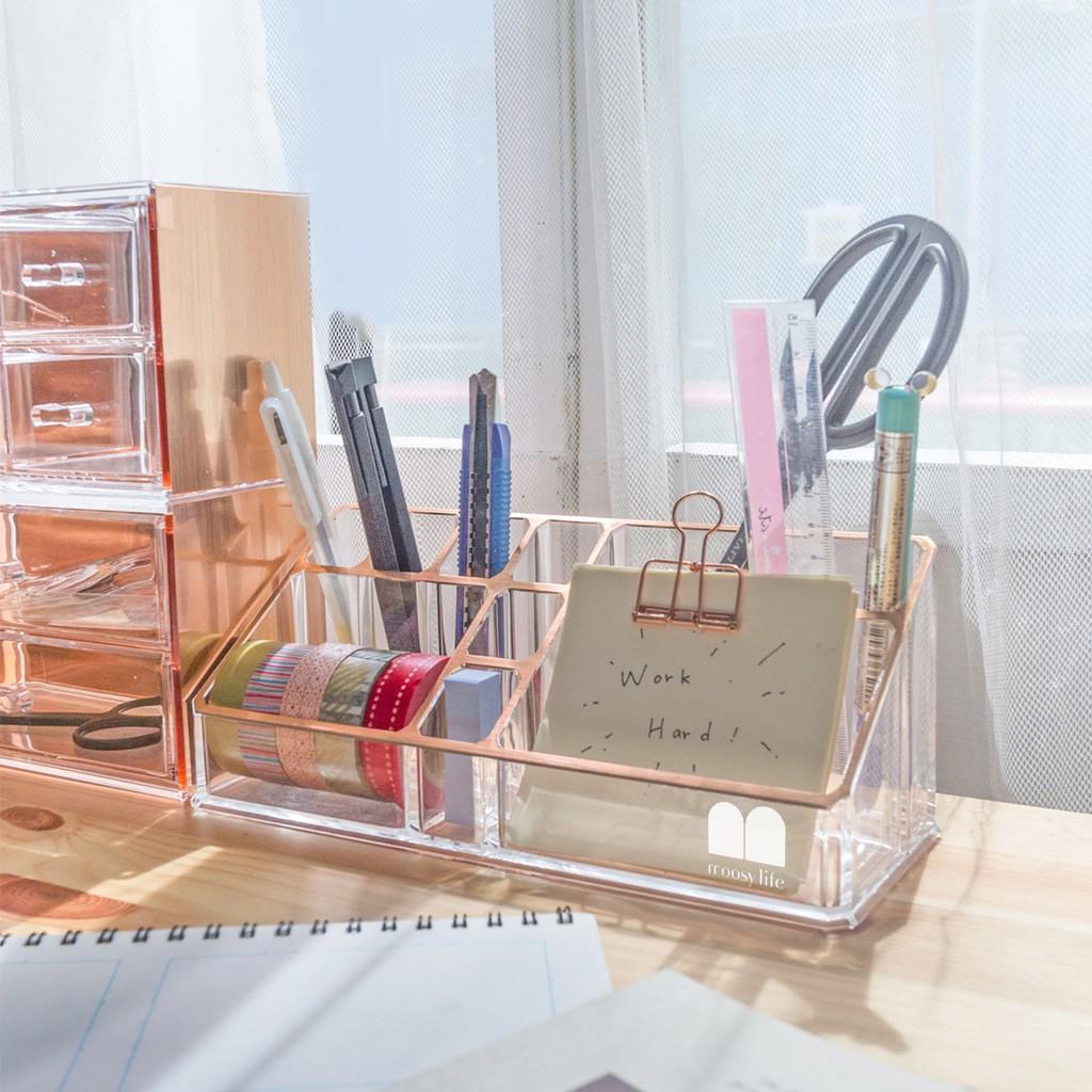 目喜生活|高Cp值 母親節禮物 書桌辦公室文具收納盒 玫瑰金 多格實用美妝化妝品壓克力收納盒 生日禮物