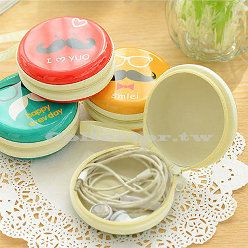 韓國趣味元素-鬍子拉鏈可拎小零錢包 鑰匙包 耳機硬幣包