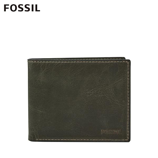 FOSSIL DERRICK 經典款LOGO壓印RFID短夾-灰色 ML4153257