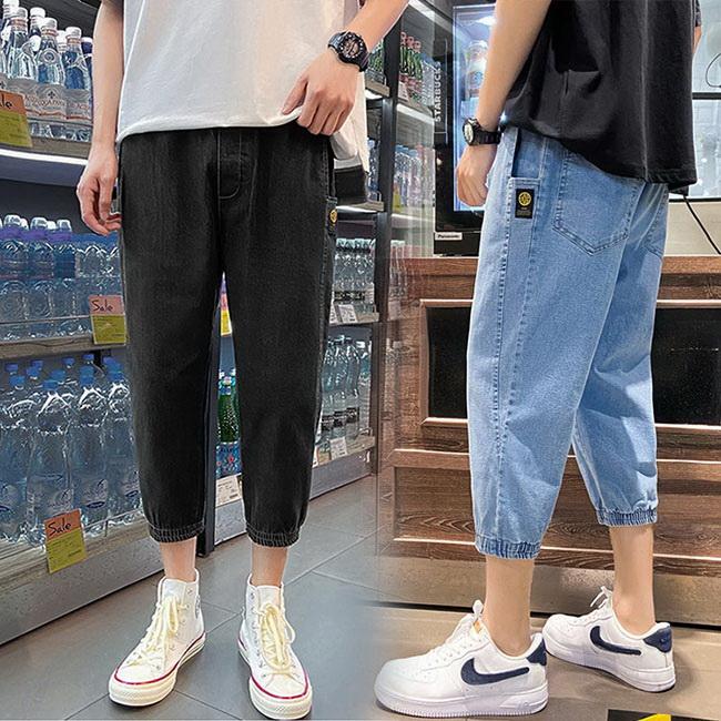 FOFU-牛仔褲韓版寬鬆休閒束腳哈倫七分牛仔褲【08B-G0906】