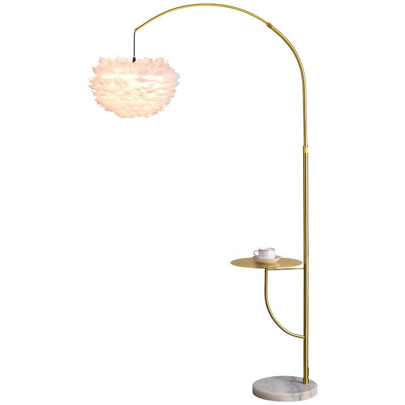 輕奢羽毛落地燈客廳沙發簡約釣魚燈北歐創意茶幾臥室床頭立式臺燈