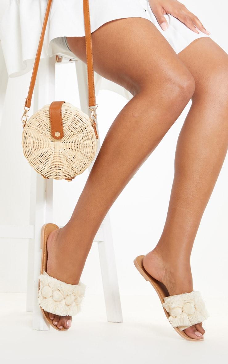 Nude Tassel Pom Pom Mule Sandal