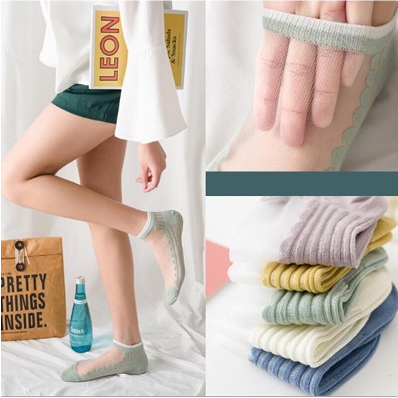 氣質水晶玻璃冰絲短襪五件組m1023