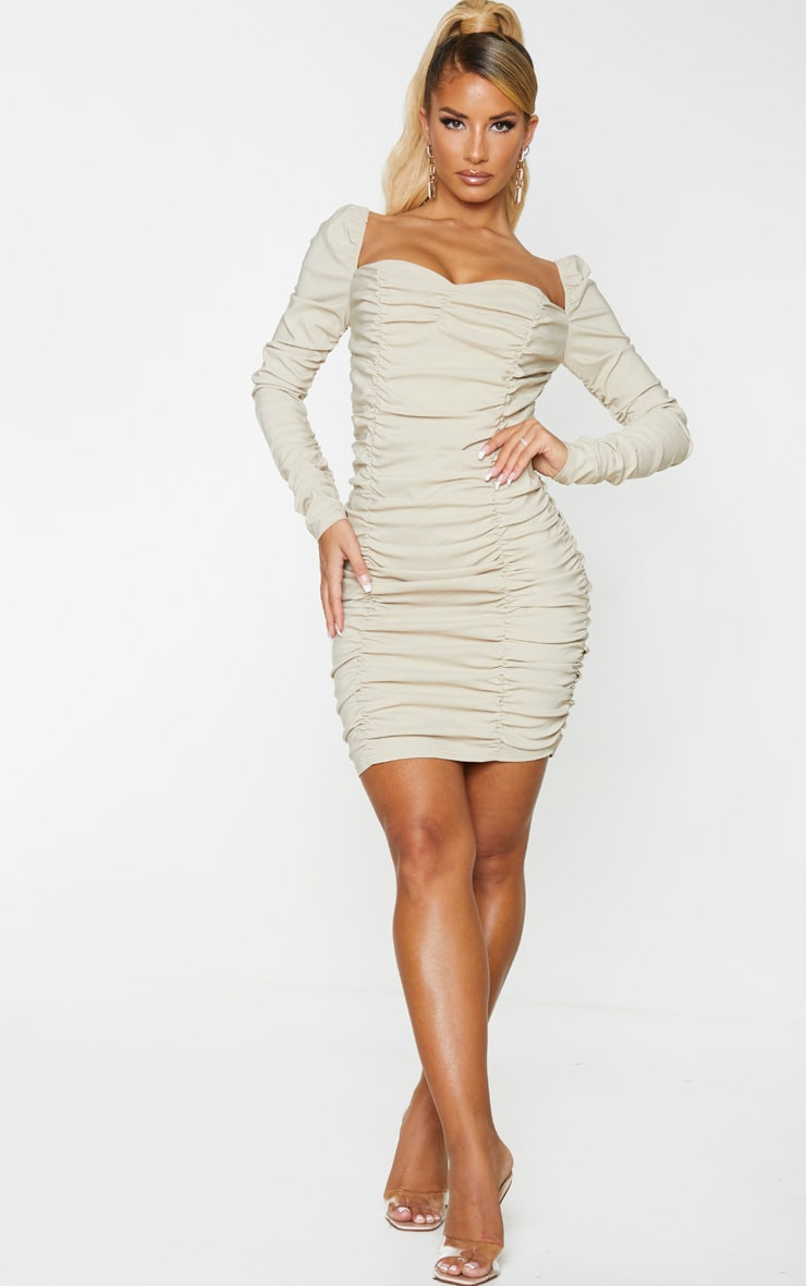 Nude Woven Stretch Extreme Ruched Bodycon Dress